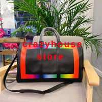 50cm 2019 Brand mens luxury designer travel luggage bag men totes kEePall leather handbag duffle bag tote luxury Duffel bags