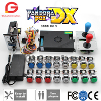 Original Pandora Box DX 3000 SANWA Joystick Chrome LED Push Button Support Direct Connection to Coin Acceptor for Arcade Machine