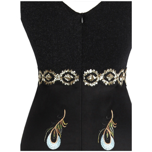Image 5 - מלאך אופנת נשים של קו V צוואר טווס רקמת שמלות ערב ארוך מפלגה שמלת 469