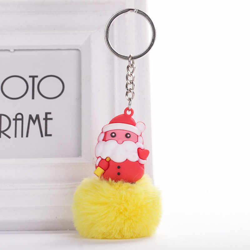 Bonito Dos Desenhos Animados Papai Noel Encantos Chaveiro Bola de Cabelo Para As Mulheres Meninas Saco de Pelúcia Pingente Carro Chaveiro Presentes De Natal Jóias