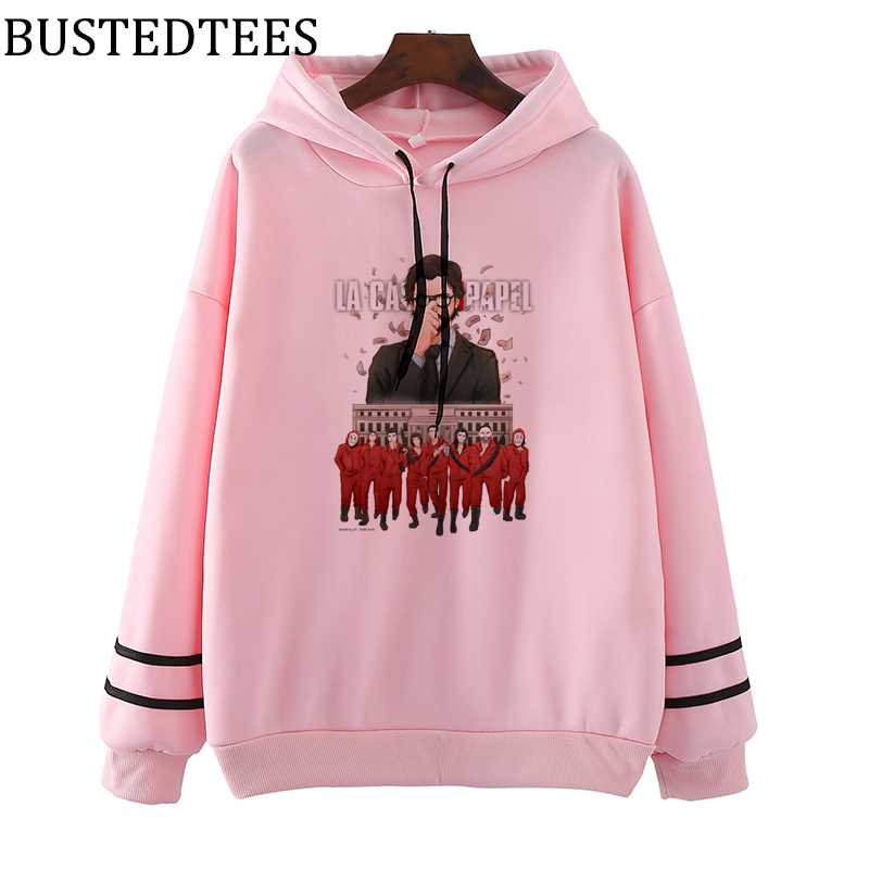 The House Of Paper LA CASA DE PAPEL Harajuku Hoodies Women Hooded Sweatshirt Ulzzang Money Heist Fleece Sweatshirts Female Coat