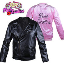 Greaser Paar Sandy en Danny Cosplay Kostuum 50s Rockabilly Roze Dames/T-vogels Jas Volwassen Vrouwen Mannen halloween Fancy Dress(China)