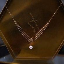 18 K Gelbgold Schmuck (AU750) Frauen Spitze halskette halsband kette Natürliche Akoya meer perle Mode Dame