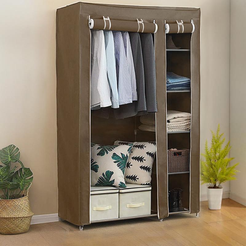 Tissu placard armoire armoire organisateur de rangement Non-tissé Portable pliant étanche à la poussière vêtements imperméables multi-usages armoire