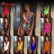 2019 explosion sexy beach one-piece swimsuit bikini new solid color backless waist