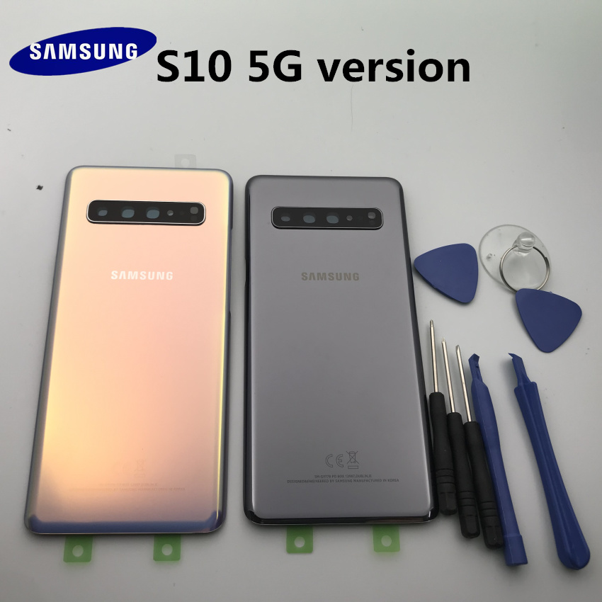Original Glass Samsung Galaxy S10+ G977 G977F 5G Versio Back Battery Cover Door Rear Housing Case + Adhesive Sticke+tools