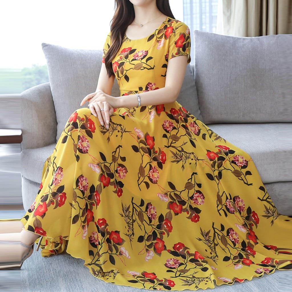 Bohemian Dress Women Plus Size 3XL Fashion Summer Print платье Grace Mid-Calf Short Sleeve O-Neck Empire Beach Printing Dress