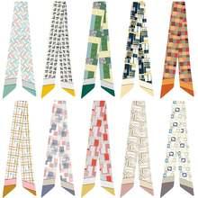 Креативный геометрический клетчатый разнообразный шарф для сумок