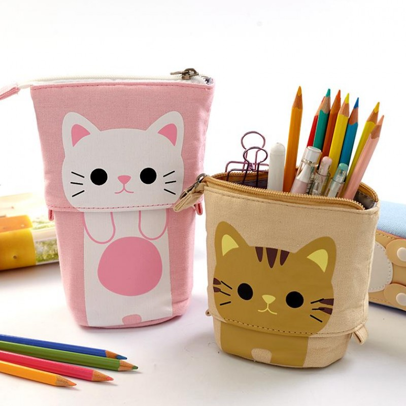 Transformer Stand Store Pencil Holder Canvas PU Cartoon Cute Cat Case Box School Office