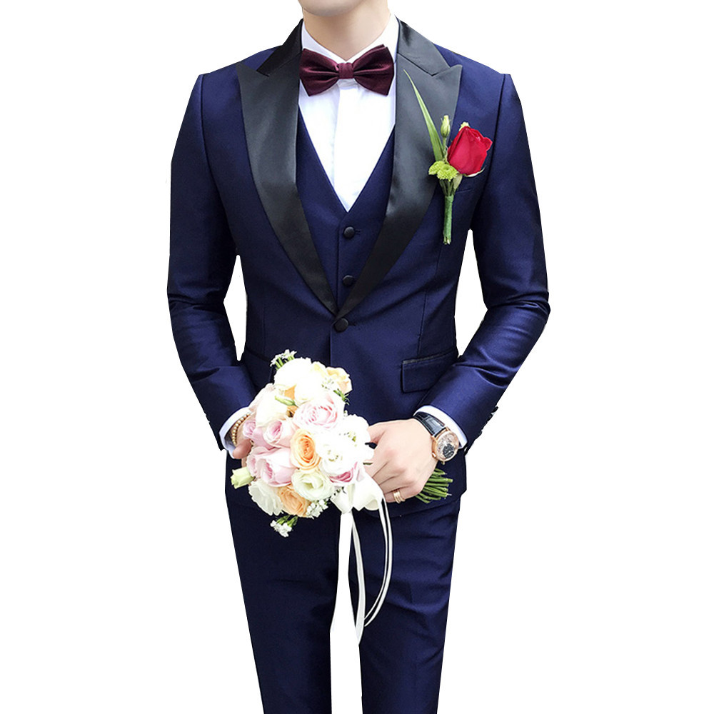 Fantastic One Button Navy Blue Wedding Groom Tuxedos Groomsmen Lapel Mens Party Suits Blazers Three-piece (Jacket+Pants+Vest)