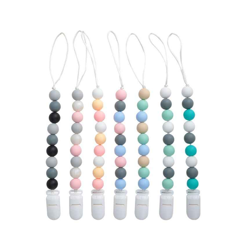 2PCS Pacifier Teething Silicone Baby Teether Chain Clip Dummy Holders