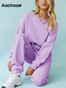 Hoodies Suit Sweatshirts Shorts Outfits Pullover Aachoae 2pieces-Set Solid Home Casual