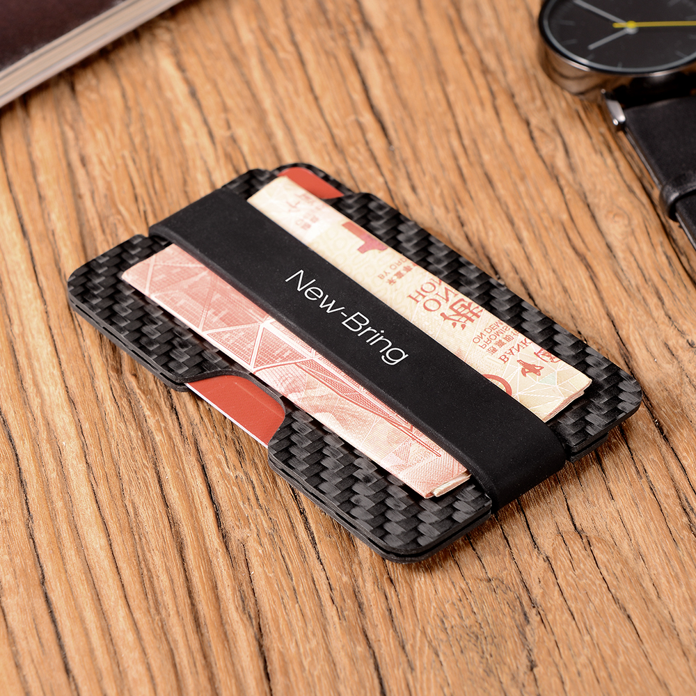 NewBring 100% Real Compact Carbon Fiber Mini Money Clip Credit Card Sleeve ID Holder With RFID Anti-Thief Card Wallet