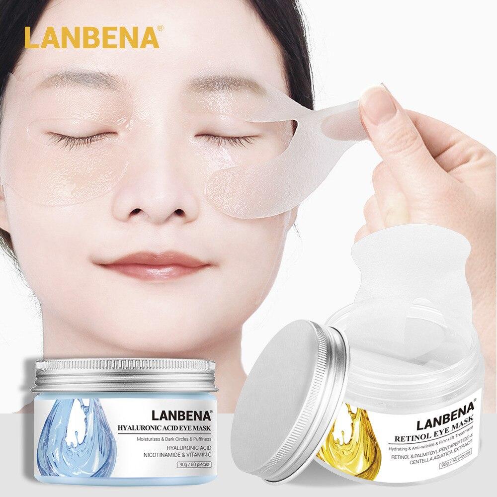 LANBENA 50Pcs Hyaluronic Acid Eye Masks Retinol Eye Patches Anti-Aging Anti-Puffiness Dark Circle Eyes Compact Skin Mask TSLM2