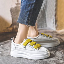 ZHR Fashion White Vulcanized Platform Shoes Women Sneakers Leather Shoes Spring Trend Casual Flats Chunky Sneakers Female 5CM women sneakers leather shoes spring trend casual flats sneakers female new fashion comfort cute heart vulcanized platform shoes