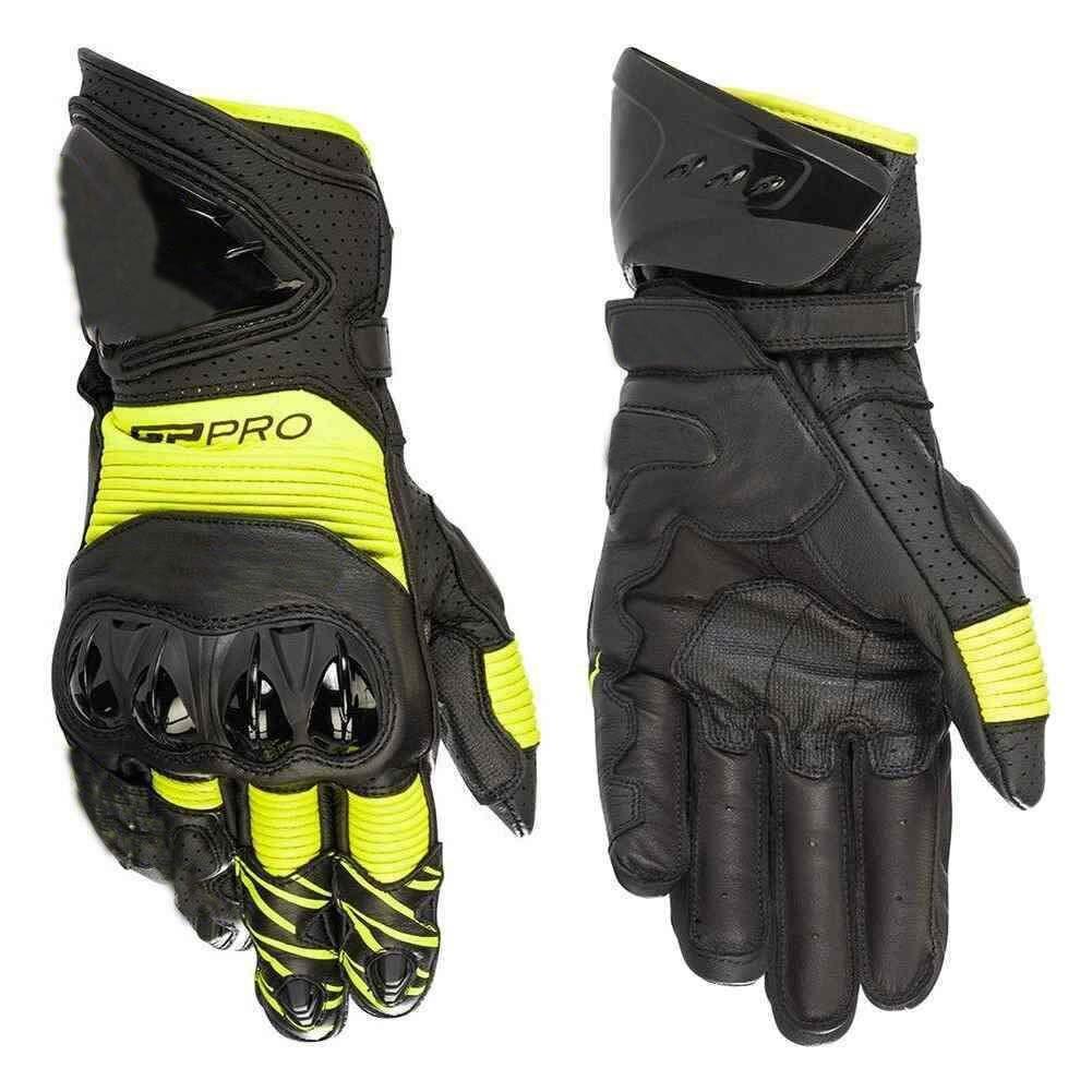 Offres spéciales! gants de course de moto en cuir Alpin GP PRO R3 noir salut Viz Fluo