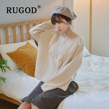 RUGOD Korean tassel women sweater Elegant round neck split ladies auturm 2019 Casual Pullovers Streetwear
