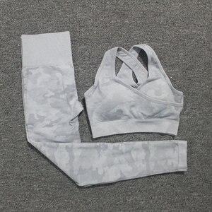 Image 3 - 2PCS/Set Camouflage Yoga Set Women Seamless Fitness Yoga Bra Sports Bra High Waist GYM Camo leggings Pants Fitness Suits Workout