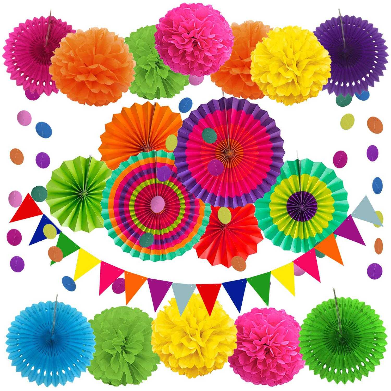 Colorful Tissue Paper Pom-poms Fans Flower Craft Triangle Bunting For Wedding Baby Shower Birthday Party DIY Decoration Supplies