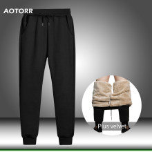 Cargo Winter Men Pants Warm Fleece Joggers Sweatpants Men' s Sportswear Solid Trousers Casual Comfort Long Pants Drop Shipping(China)