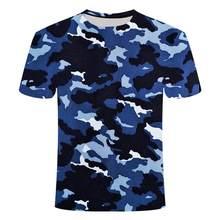 2021 camiseta camuflada unissex, azul, cinza, vermelho, estampa 3d, manga curta, camisa para homem e mulher grande