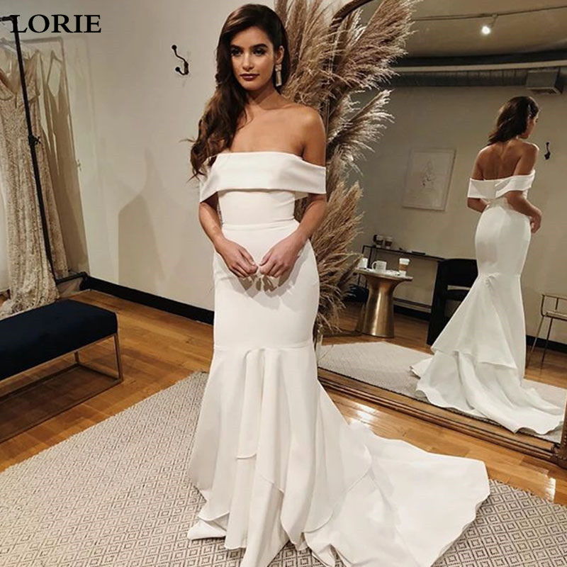 Lorie Mermaid Wedding Dresses Satin Off The Shoulder Bride Dresses Vestido De Novia  Boho  Wedding Gown Custom Made