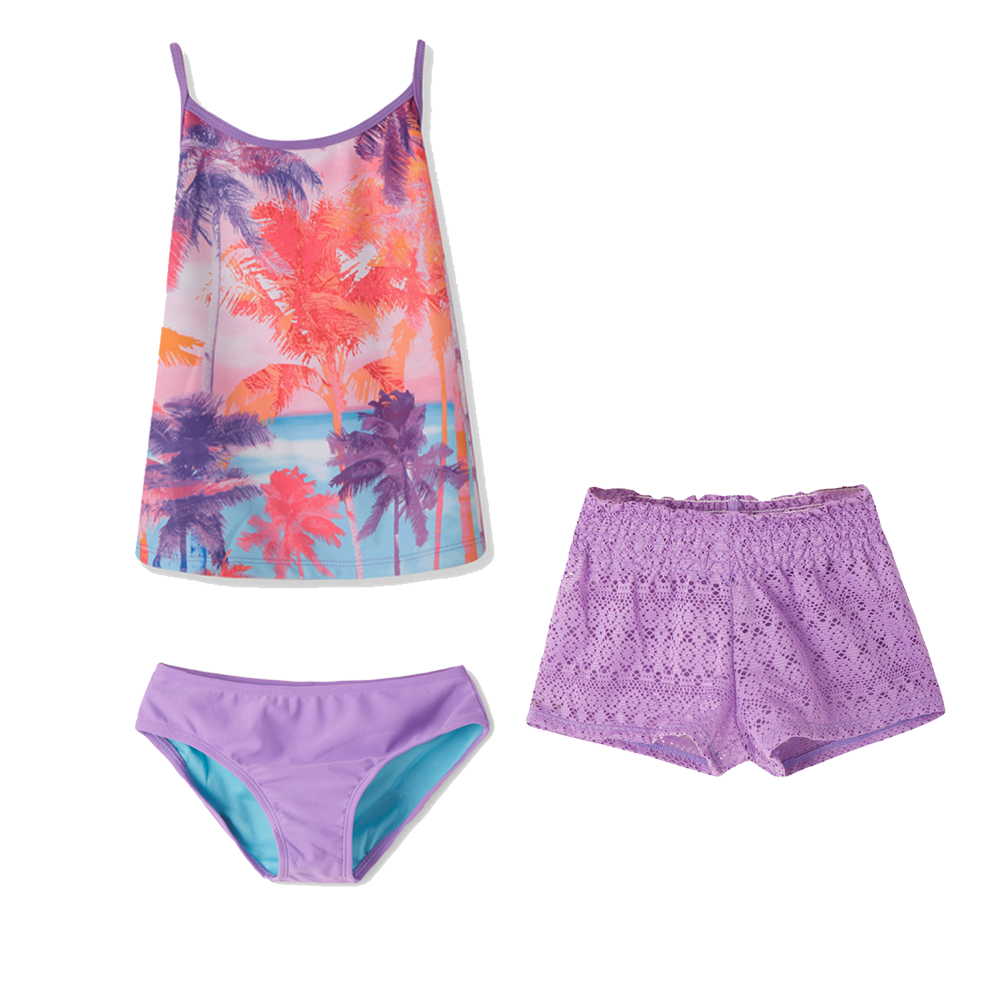 Girls Tankini Set Swimsuits 3 Pieces Bathing Suit Camisole Top Purple Coco Print Swimsuit For Girl Kids