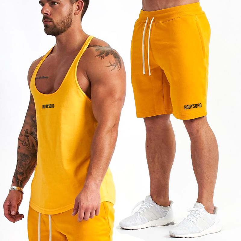 2019 New Men's Summer Stringer Tanks Set Male Tank Top + Shorts Cotton Gyms Fashion Sportwear  Joggers Bodybuilding Fitness Sets