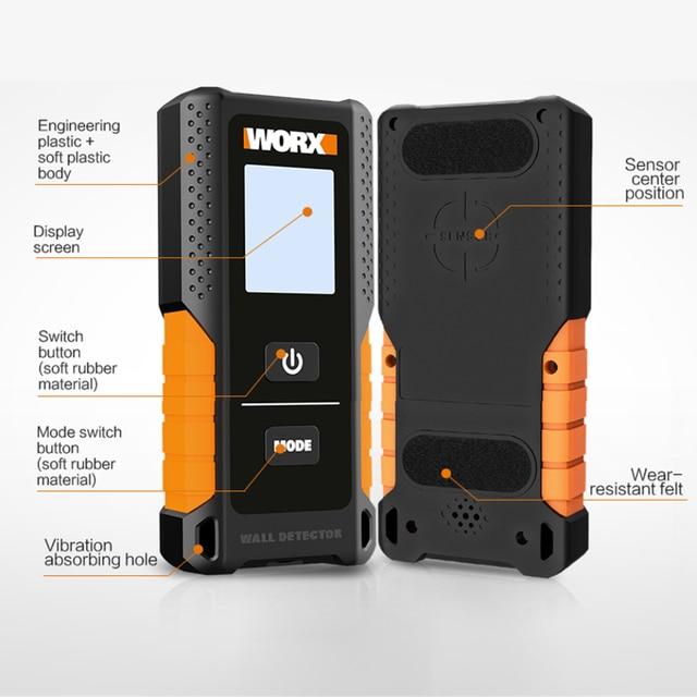 Worx Multifunctional Wall Detector WX085/WX086 Metal Wood & AC Cable 3in1 Detector 120mm depth Digital Display USB Rechargerable 2