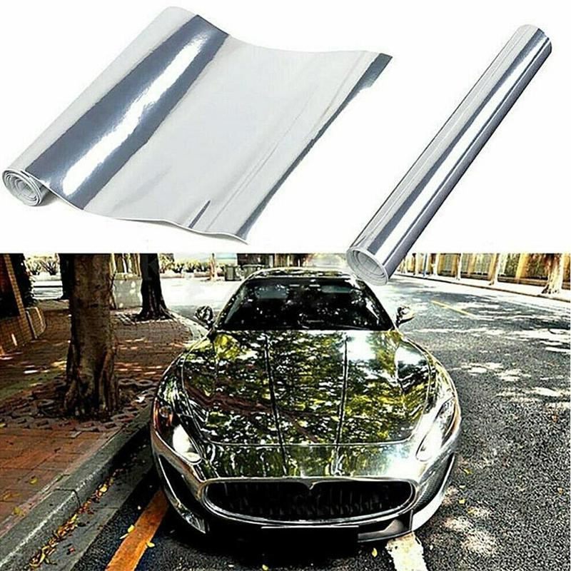 Automobile Color Change Film Sticker Mirror Silver Chrome Mirror Flexible Vinyl Wrap Sheet Roll Film Car Sticker Decal Sheet