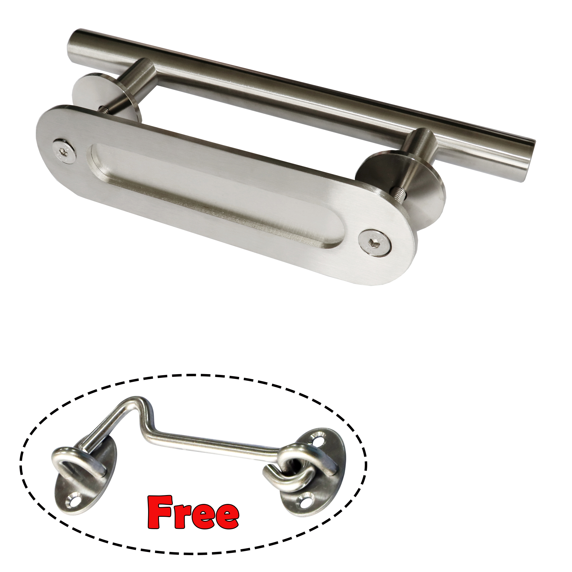 12 Stainless Steel Sliding Barn Door Handle Wood Door Oval Flush Pull Free Latch Lock Door Handles Aliexpress