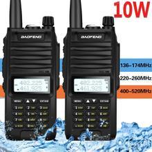 2 adet Baofeng BF F11 10W 4800Mah IP67 su geçirmez tri bantlı el telsizi 10KM uzun menzilli güçlü iki yönlü radyo