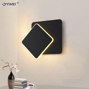 Image 3 - Lámpara de pared LED cuadrada para dormitorio, sala de estar, candelabro blanco y negro, luces de pared de 360 grados, accesorios de Metal giratorio de 5W/16W