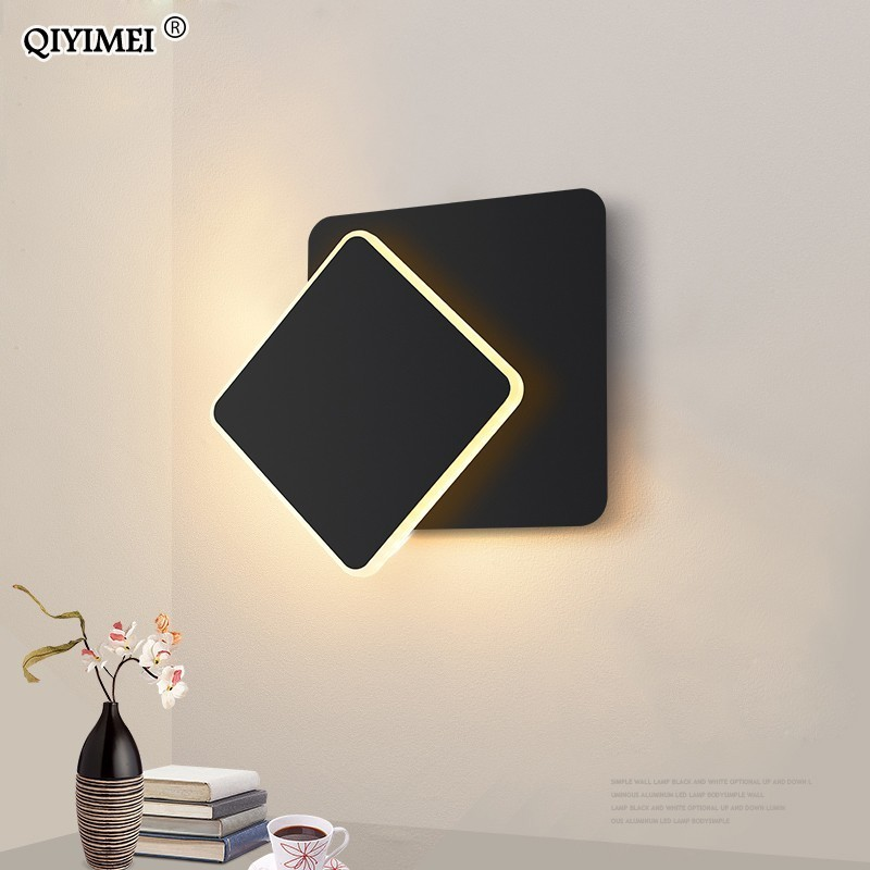 Plac LED kinkiet lampa do sypialni salon biały czarny kinkiety lampy przytwierdzone do ściany 360 stopni obrotowy metalowy 5 W/16 W oprawy w Wewnętrzne kinkiety LED od Lampy i oświetlenie na