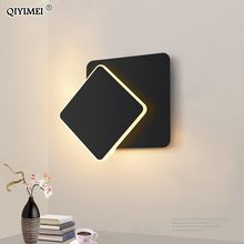 square LED Wall Lamp for Bedroom living room white black sconce wall lights 360 degrees Rotatable Metal 5W/16W fixtures(China)