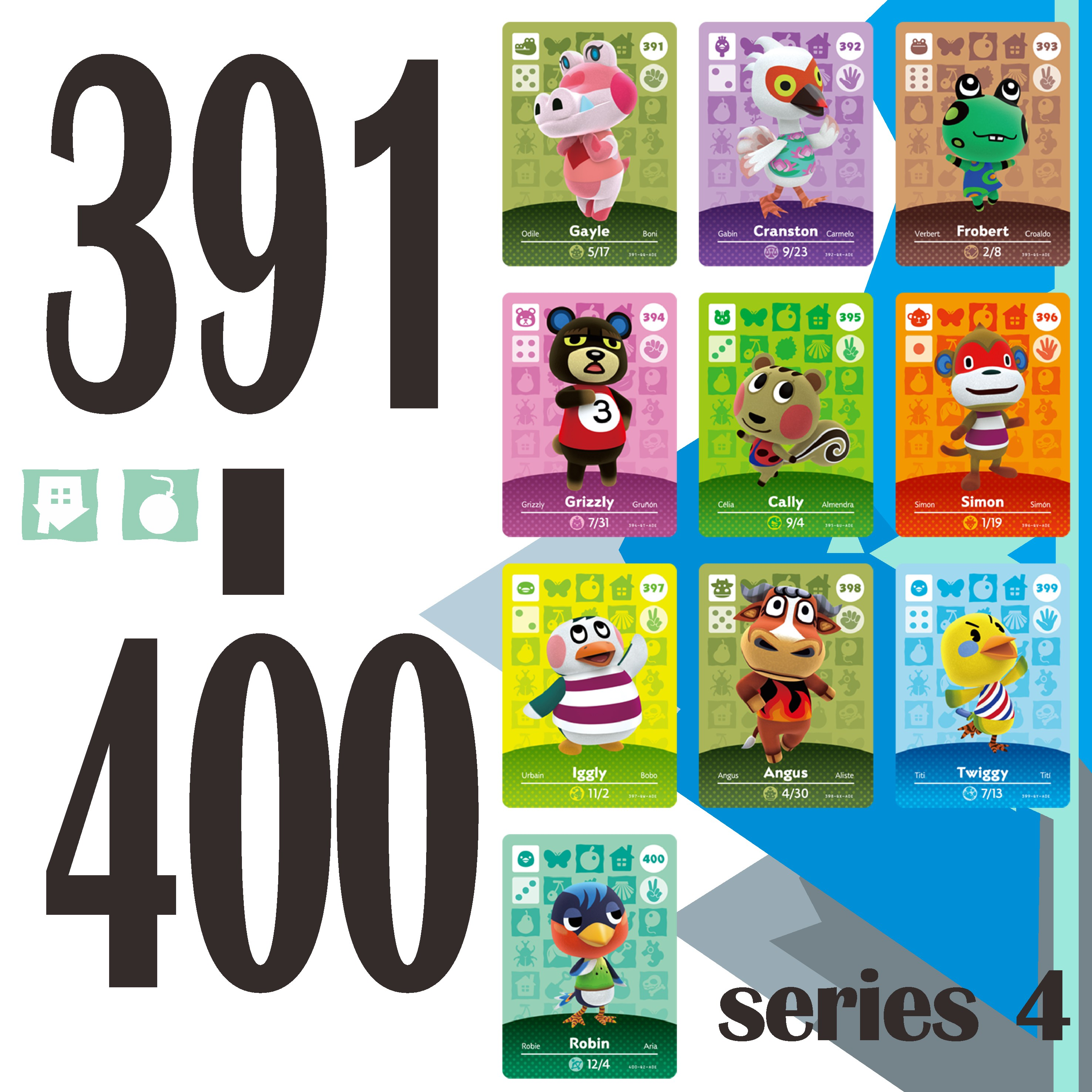 Animal Crossing Card Amiibo Card Work for NS Games Rosie Amibo Welcome Stickers Ankha Switch NFC Series 4 (391 to 400) 1