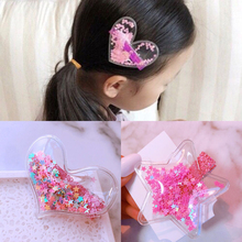 Baby Girl 1pc Sequin Star Hairclips Safe Full-warped Baby Hairclips Star Heart Kids Cute Hair Accessories Sequin Shells Hairpins star shaped sequin manicure