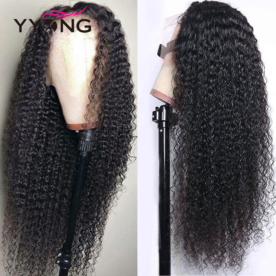 YYong  Kinky Curly 13x4 HD Transparent Lace Front  Wigs 150% Density  Invisible Lace Front Wigs 30 32inch 1