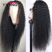 YYong Brazilian Kinky Curly 13x4 HD Transparent Lace Front Human Hair Wigs 150% Density Remy Invisible Lace Front Wigs 30 32inch