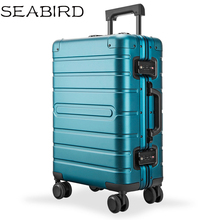 SEABIRD 20 24 28 inch 100% aluminium spinner travel suitcase hand luggage trolley with wheel travel tale 20 24 inches abs pc cartoon lovely rolling luggage customs lock spinner brand travel suitcase