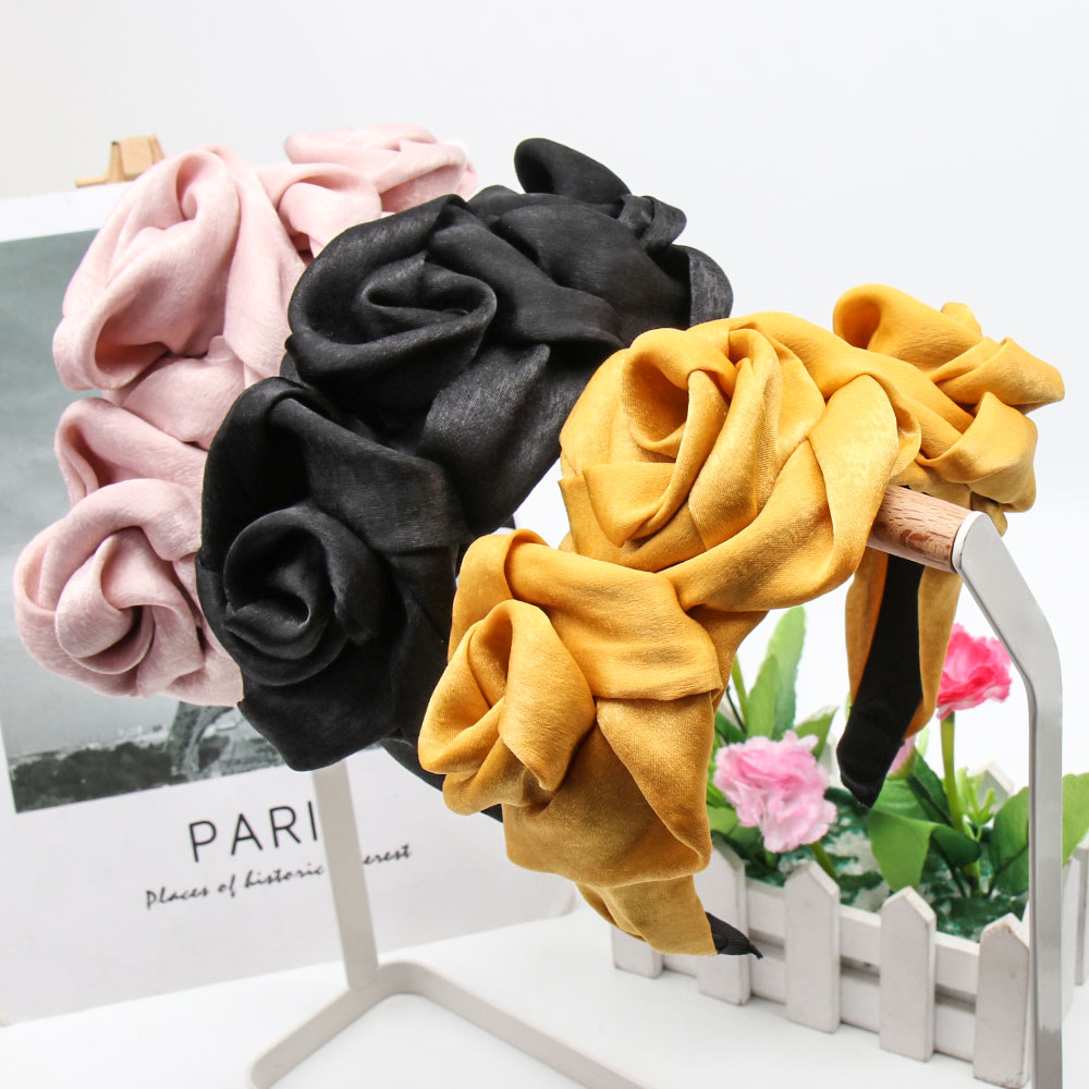 Solid Chiffon Rose Flower Headbands For Women Girls Elegant Bride Hairbands Women Hair Accessories Party Festival Hair Hoop