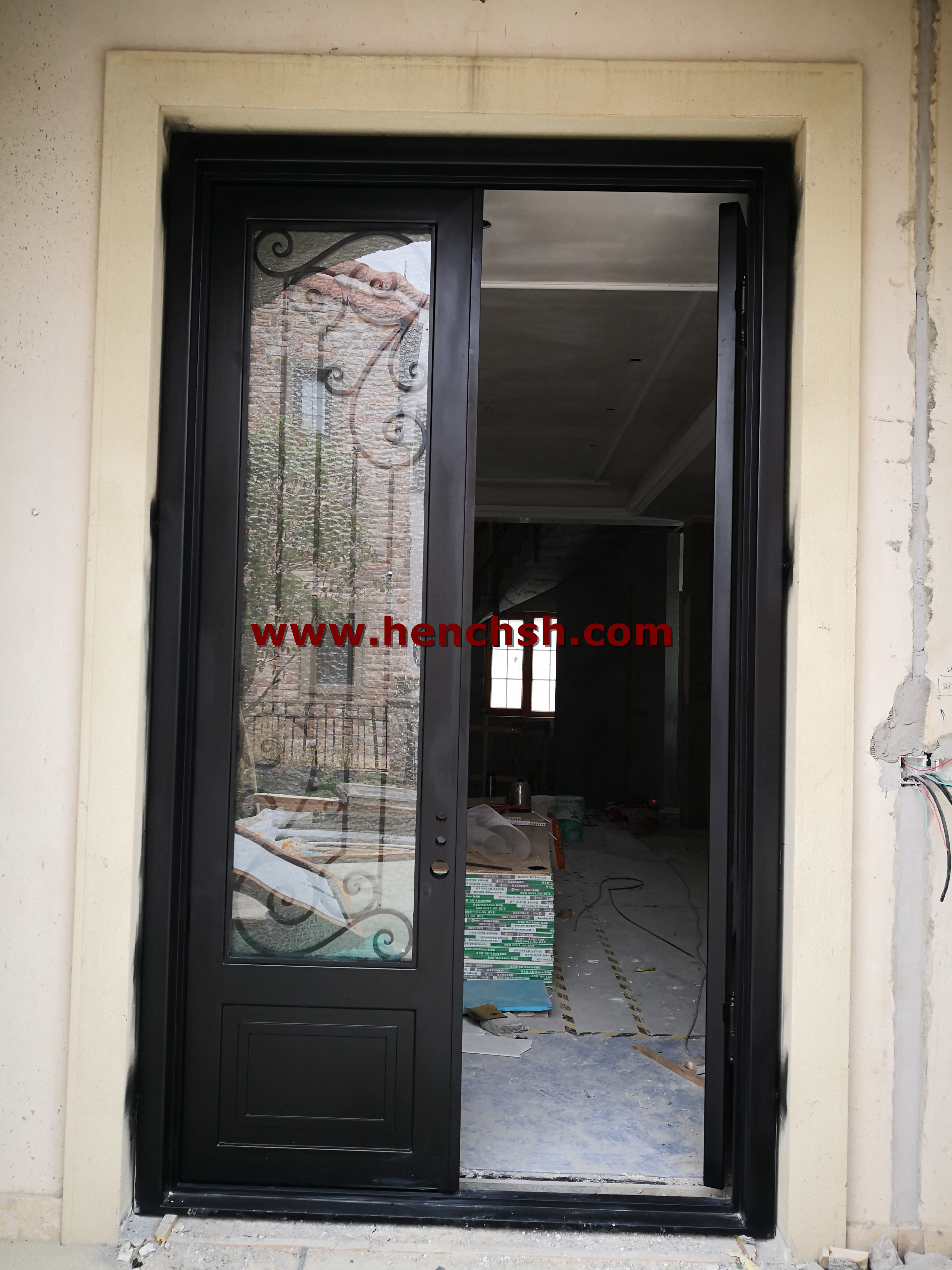 Hench 100% Steel Made Foma Insulation Wrought Iron Doors For Wholesale