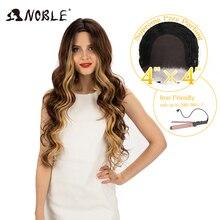 Благородный 4X4 кружевной передний парик 30 дюймов кружевные волнистые волосы 0 Мбит блонд синтетические парики для косплея для черных женщин...