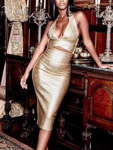 Image 3 - Vc tudo frete grátis quente duas peças halter óleo impressão sem mangas sexy oco para fora v pescoço celebridade festa bandagem vestido conjunto