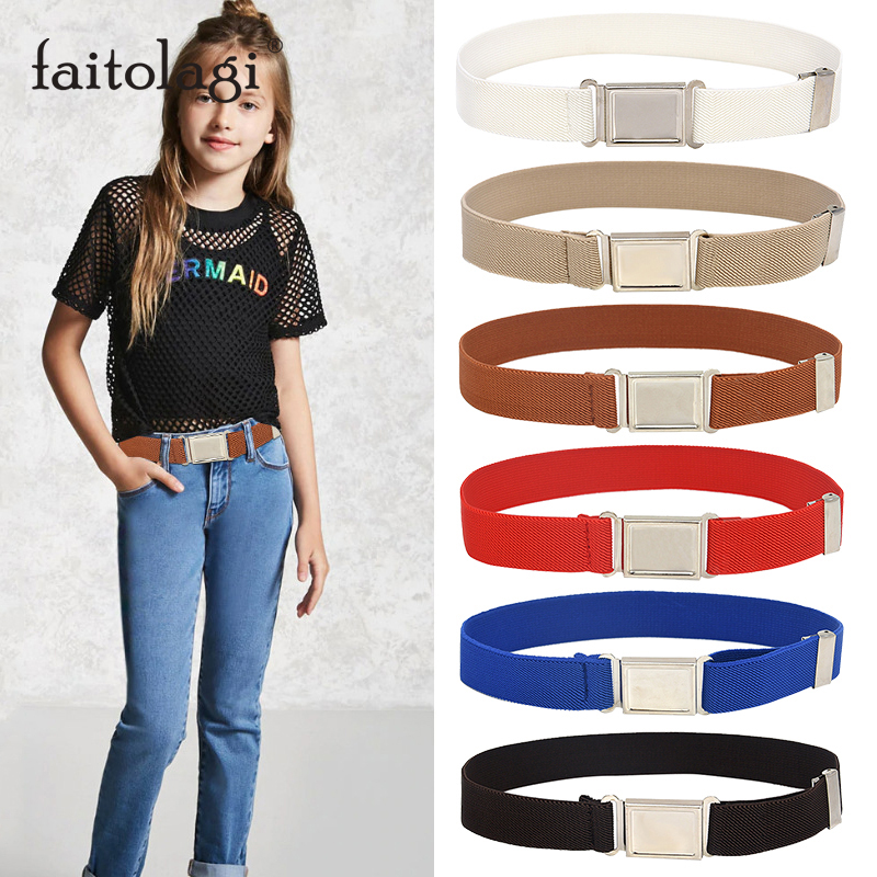 Elastic Canves Kids Belts Adjustable Stretch Belt For Boy Girl Magnetic Buckle Child Toddler Jeans Pants Belts Ceinture Enfant