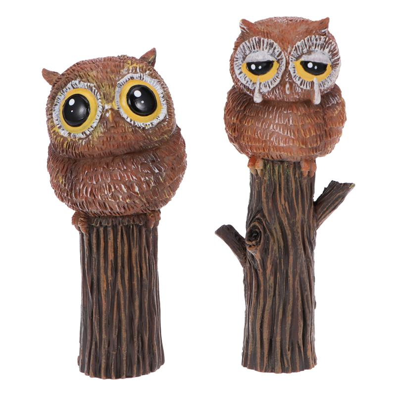 2pcs Owl Miniature Micro Landscape Moss Succulent Potted Ornaments Bonsai Fairy Garden Landscape DIY Decoration For Home