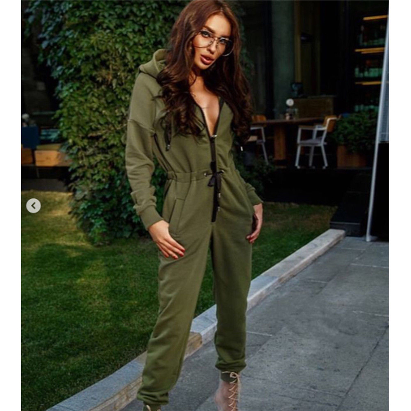New Fashion Women Sexy Jumpsuit Long Sleeve High Waist Jumpsuit Hoodies Street Wear Drawrsing Jumpsiut Romper Long Trousers