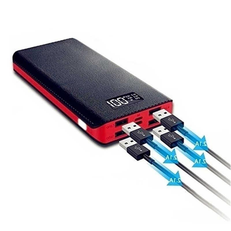 電源銀行 30000 麻雀大容量液晶デジタルディスプレイ 4USB ポート携帯電話 LED 照明ポータブル屋外旅行充電器