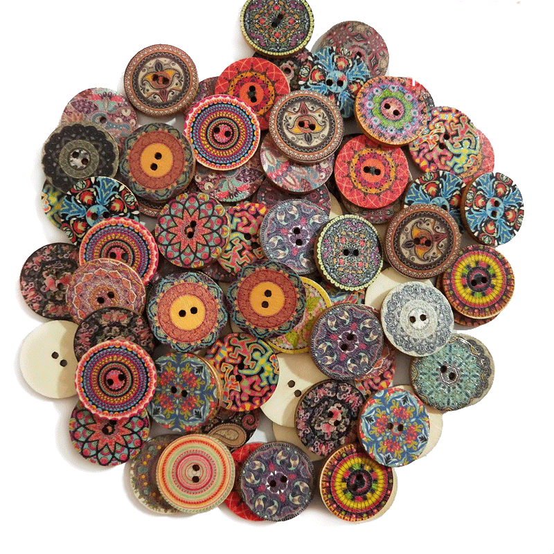Motivated 15-25mm 50pcs Retro Wooden Buttons 2 Holes For Handwork Sewing Scrapbook Clothing Button Diy Crafts Accessories Gift Card Decor High Quality And Low Overhead