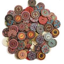 15-25mm 50pcs rétro boutons en bois 2 trous pour travail manuel couture Scrapbook vêtements bouton bricolage artisanat accessoires cadeau carte décor